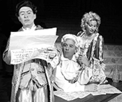 Terry Burnsed, Stetson Weddle and Lisa Rosenhagen in Amadeus.