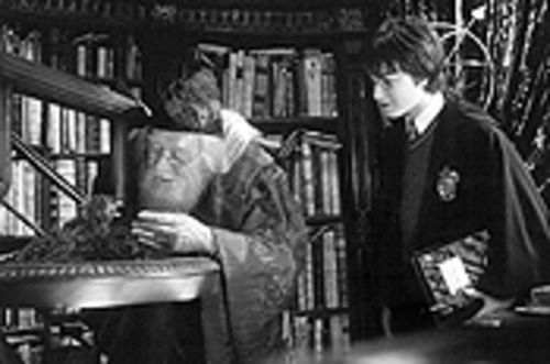 The late Richard Harris, as Professor Dumbledore, coaches Daniel Radcliffe in Harry Potter and the Chamber of Secrets.