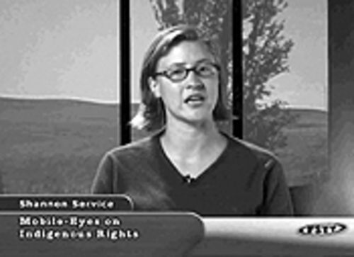 Public service: Shannon Service anchoring from Free Speech TV's Boulder studio.