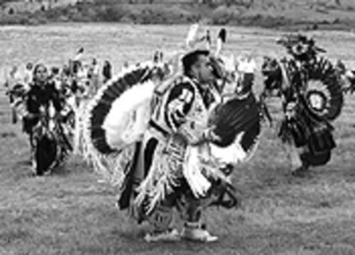 An Indian dancer at the Powwow.