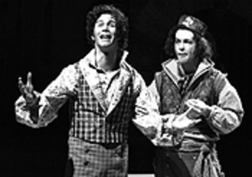 Christopher Kelly (left) and Cameron Folmar in  Scapin or the Con Artist.