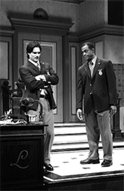 Rick Stear and Terrence Riggins in Lobby  Hero.