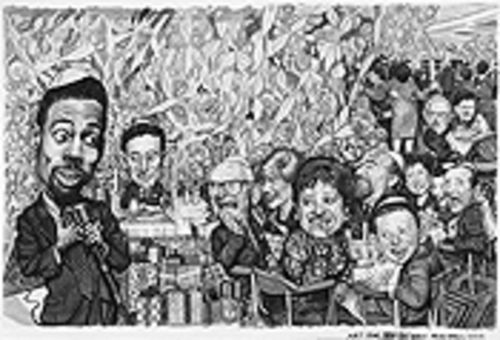 """What if Chris Rock Performed at a Bar Mitzvah,"" by  Drew Friedman, ink and watercolor on paper."