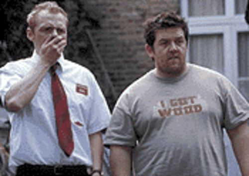 Lively up: Simon Pegg and Nick Frost get the gag in  Shaun of the Dead.