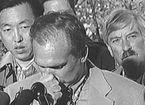 April 30, 1999: JCSO lieutenant John Kiekbusch  (center) and Jeffco DA Dave Thomas (right) tell the  official story of Columbine at a press conference.