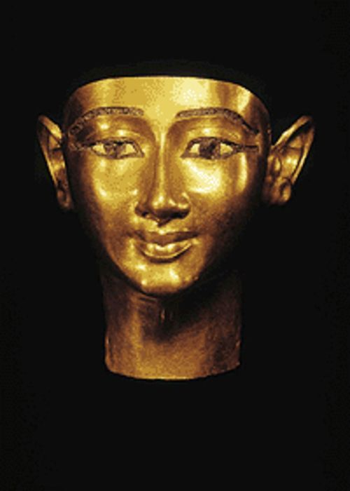 """Funerary mask of Wenudjebauendjed,"" gold in  repoussé."