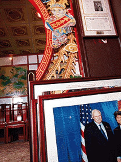 Rogues' gallery: Dick Cheney welcomes you to  Heaven Dragon.
