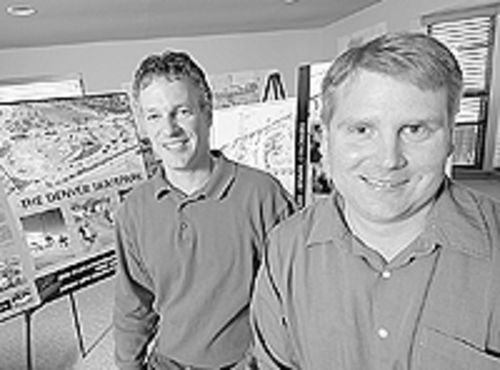 Designs on Denver: Architerra Group principals Dean  Pearson (right) and Mike Taylor involve  skateboarders in the planning process .