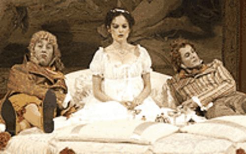 David Ivers, Ruth Eglsaer and Sam Gregory in  The Misanthrope.