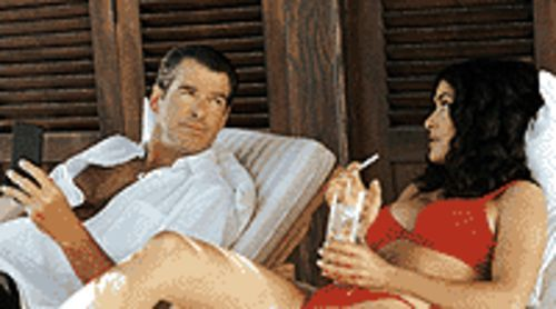 Take a shower: Pierce Brosnan and Salma Hayek  plot mischief in After the Sunset.