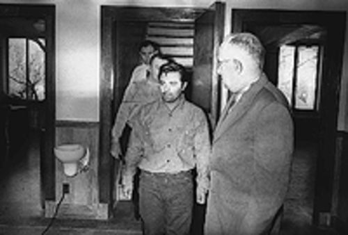 In Cold Blood killers Perry Smith, center, and  Richard Hickock entering a Kansas courthouse, as  photographed by Rich Clarkson.