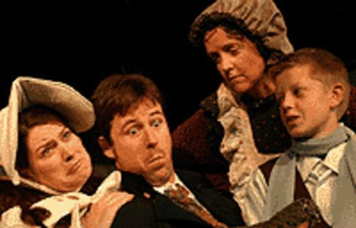 The family that plays together -- Rosey Waters, Jake  Mechling, Priscilla Young and Eric Tedesco -- frays  together in Mrs. Bob Cratchit's Wild Christmas  Binge.