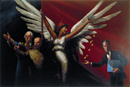 """Lenin, Washington, Duchamp and Duncan,"" by Komar and Melamid, tempera and oil on canvas."