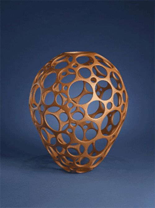 """Jar,"" by Hubert Candelario, coiled and pierced clay."