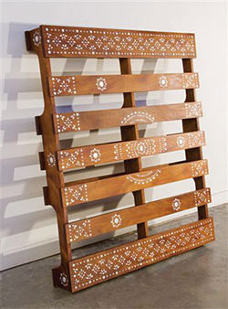 """Paleta :: Pallet (Made in the U.S.A.),"" Yumi Janairo Roth, mahogany and mother-of-pearl."
