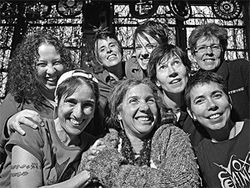 The Feminista mystique (clockwise from upper left): Kara Edin, Andrea Gibson, Michele Arrieta, Nancy Norton, Joy Boston, Raven, Mo and Oak Chezar.