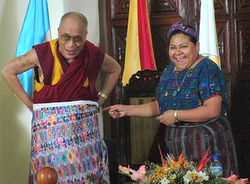 Nobel Peace Prize winner Rigoberta Menchú Tum, shown here with the Dalai Lama, says the world is in disrepair. Watch the documentary at westword.com/mayan2012prophecy.