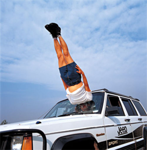 """Li Wei Falls to the Car,"" by Li Wei, chromogenic print."