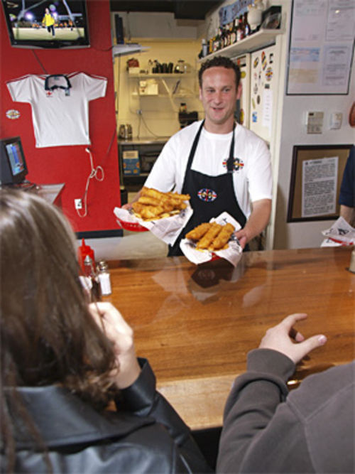 Alex Stokeld fishes for compliments at GB Fish & Chips.