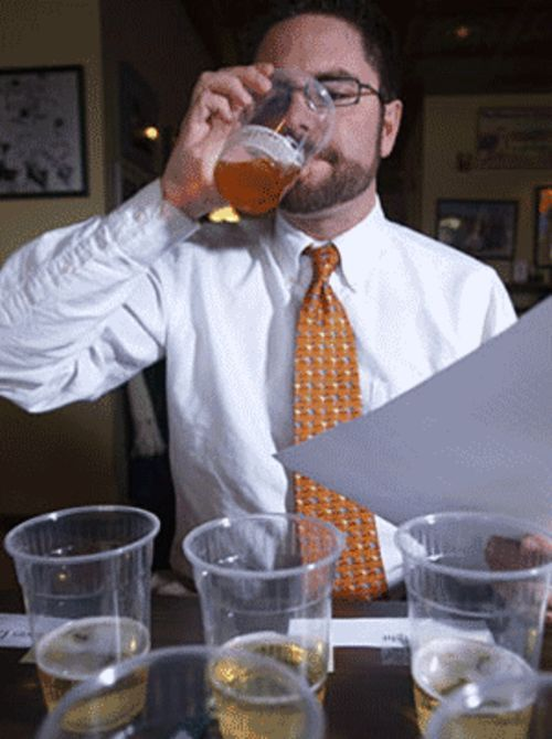 Blake Harrison drinks up at the 3.2 beer taste test.