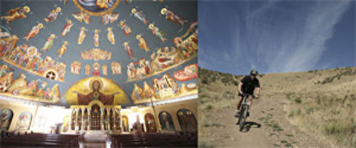 Assumption Greek Orthodox Cathedral promises ascension, while a mountain biker in Lakewood's William Frederick Hayden Park descends.