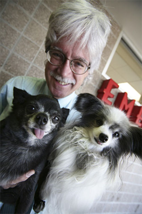 Veterinarian Kevin Fitzgerald talks to the animals.