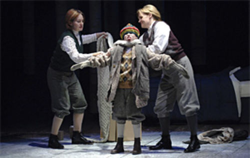 Rebecca Remaly, Orion Pilger and Karyn Casl in A Child's Christmas in Wales.
