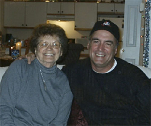 John Beech and mother Elizabeth Malonson at a Christmas celebration