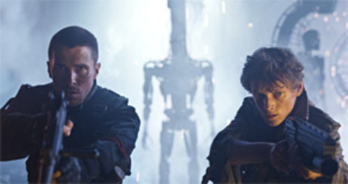 Christian Bale (left) as John Connor and Anton Yelchin in Terminator Salvation.