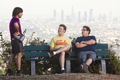 Jason Schwartzman, Seth Rogen and Jonah Hill star in Funny People.