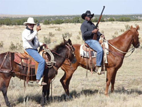 Wes McKinley and Terrance Carroll, at home on the range.