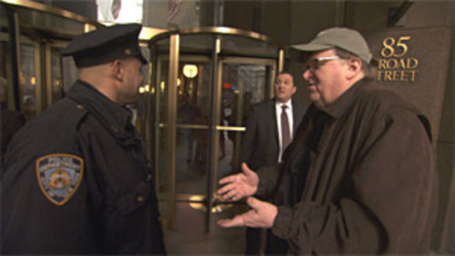 Michael Moore outside of Goldman Sachs in Capitalism: A Love Story.