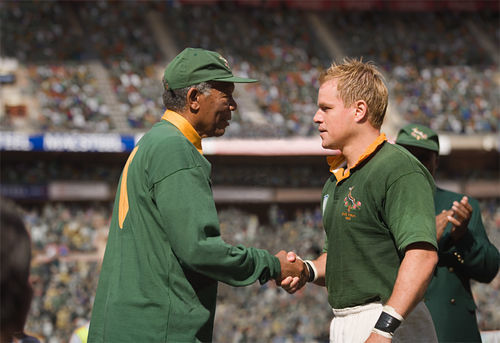 Morgan Freeman and Matt Damon star in Invictus.