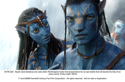 Zoë Saldaña and Sam Worthington star in Avatar.
