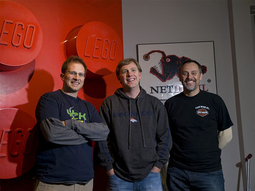 Ryan Seabury, Scott Brown and Peter Grundy are building NetDevil's future with LEGOs.
