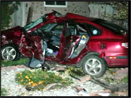 October 23, 2005: Fleeing police in a rented truck, parolee Shawn Todaro broadsided the Lathams' car a block from their house.
