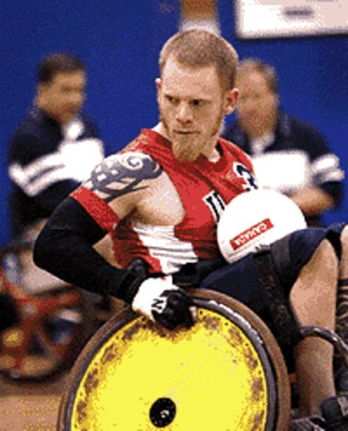 Wheely wild: Mark Zupan, one of the most feared players in his sport, rolls in Murderball.