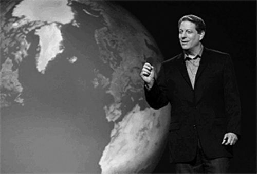 In An Inconvenient Truth, Al Gore links global warming  to increasingly violent tropical storms.