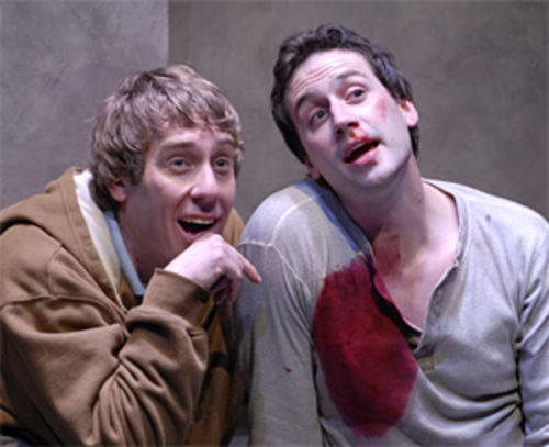 David Ivers and Scott Ferrara play brothers in The Pillowman.