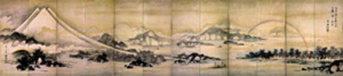 """Mount Fuji and Miho no Matsubara,"" by Soga Shohaku, twelve-panel screen."