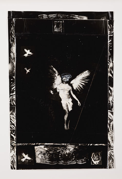 """Saint Michael,"" by Wes Kennedy, gelatin silver print with acrylic and mixed mediums."