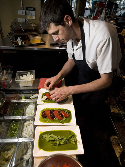 Rob Esposito moves to the beet at the Squeaky Bean.