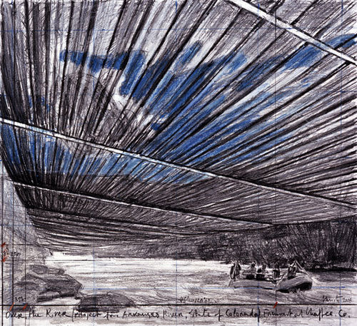 """Over the River,"" by Christo, mixed media."