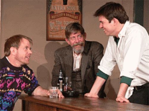 Gregg Adams (from left), Pete Nelson and Joel Sutliff  swap life stories in The Weir.