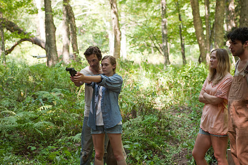 John Hawkes (left) Elizabeth Olsen, Louisa Krause and Christopher Abbott in Martha Marcy May Marlene.