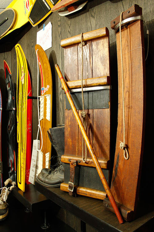 An original 1939 Sno-Surf rides the walls at the museum.
