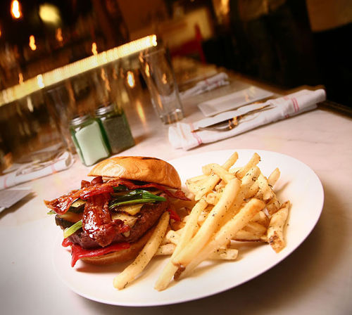 The bison burger at CafeBar is slightly twisted...and deeply satisfying. See more photos from CafeBar.