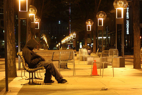 View a Sleeping on the 16th Street Mall slide show.