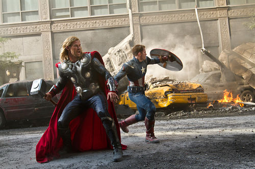 Chris Hemsworth (as Thor) and Chris Evans (as Captain America) in The Avengers.