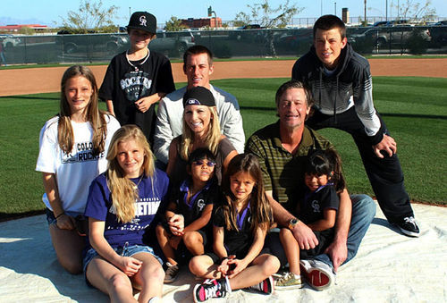 Jamie Moyer with wife Karen (center) and their eight children. Infographic: Pitcher Jamie Moyer has shut down the Rockies' best hitters